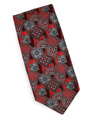 Linea In Floral Geometric Silk Tie-RED-One Size