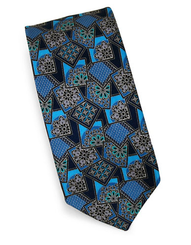 Linea In Floral Geometric Silk Tie-TEAL-One Size