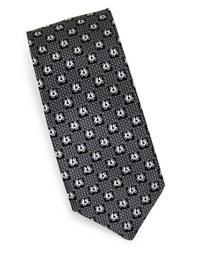 Linea In Ditsy Print Silk Tie-GREY-One Size