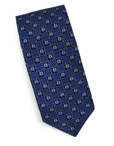 Linea In Ditsy Print Silk Tie-NAVY-One Size