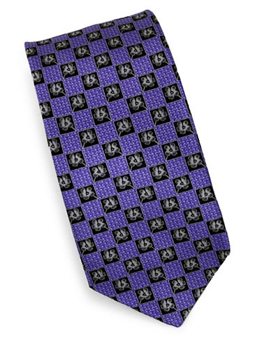 Linea In Ditsy Print Silk Tie-PURPLE-One Size