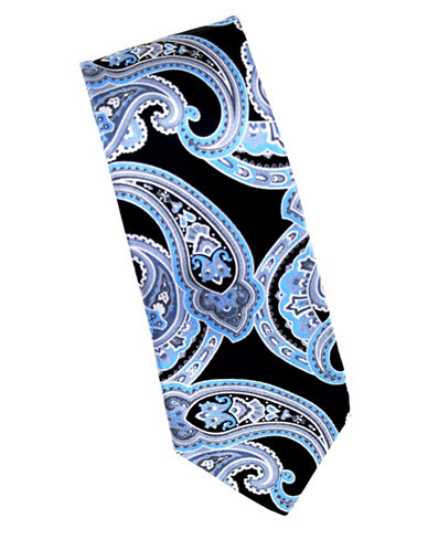 Linea In Intricate Paisley Silk Tie-BLUE-One Size