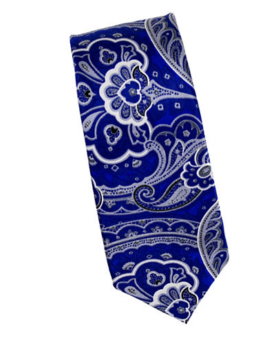 Linea In Intricate Paisley Silk Tie-NAVY-One Size