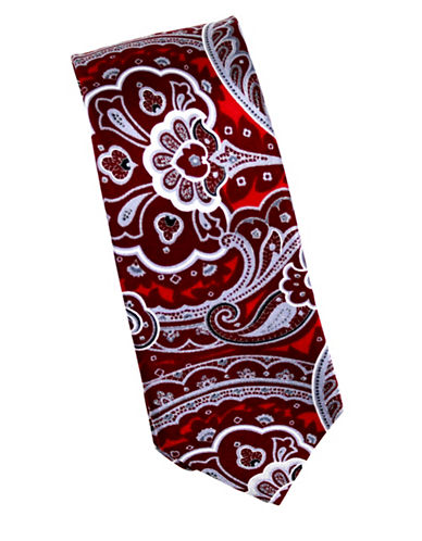 Linea In Intricate Paisley Silk Tie-RED-One Size