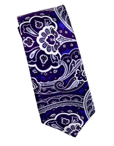 Linea In Intricate Paisley Silk Tie-PURPLE-One Size