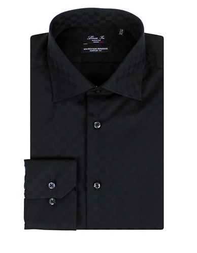 Linea In Two-Ply Comfort-Fit Cotton Dress Shirt-BLACK-16-36
