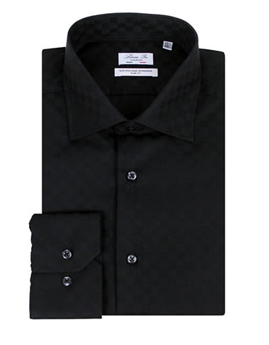 Linea In Check Slim-Fit Cotton Dress Shirt-BLACK-15-34