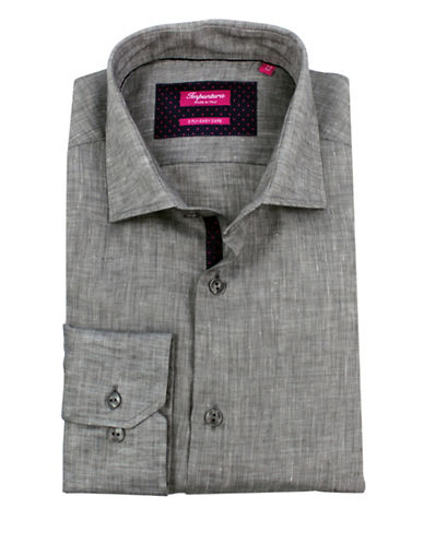 Impuntura Cotton Long Sleeve Easy-Care Dress Shirt-GREY-16.5