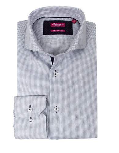 Impuntura Mini Micro Check Dress Shirt-GREY-17.5-37