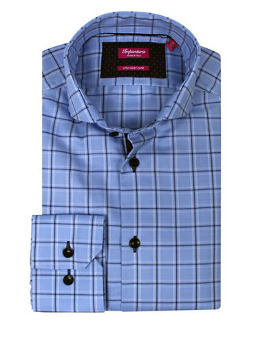 Impuntura Comfort-Fit Check Dress Shirt-BLUE-16-36
