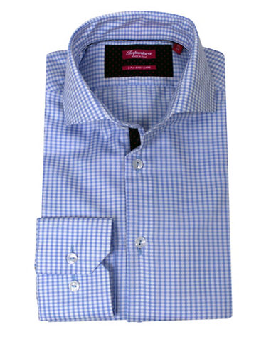 Impuntura Comfort-Fit Gingham Checked Dress Shirt-BLUE-16.5-32/33