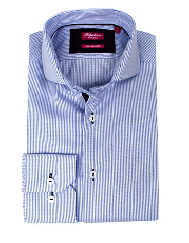 Impuntura Comfort-Fit Striped Dress Shirt-BLUE-17-37