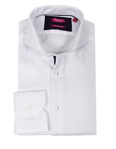 Impuntura Comfort-Fit Tonal Ribbed Dress Shirt-WHITE-17-37