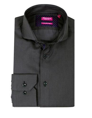 Impuntura Comfort-Fit Tonal Pin Dot Shirt-CHARCOAL-15.5-34/35