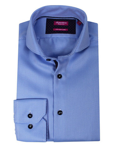 Impuntura Comfort-Fit Tonal Ribbed Dress Shirt-BLUE-17-37