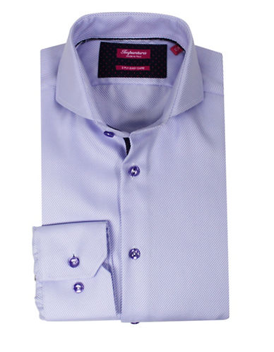 Impuntura Comfort-Fit Tonal Ribbed Dress Shirt-PURPLE-15.5-34/35