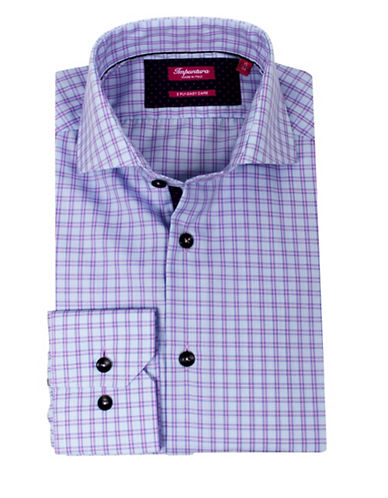 Impuntura Comfort-Fit Checked Dress Shirt-BLUE-15-34