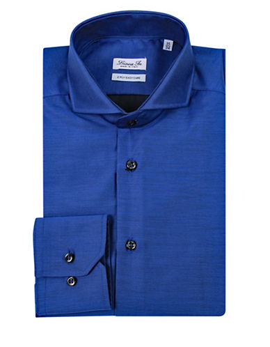 Linea In Solid Dress Shirt-BLUE-15.5-34/35