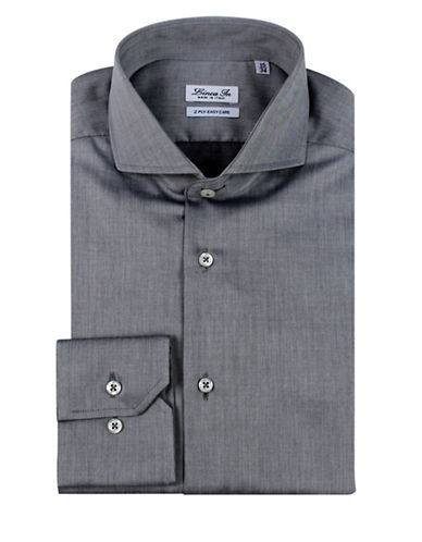 Linea In Solid Dress Shirt-GREY-17.5-32/33