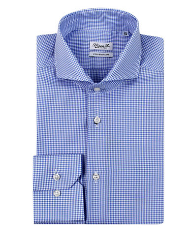 Linea In Houndstooth Dress Shirt-BLUE-16-32/33