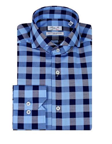 Linea In Slim Fit Tonal Weave Dress Shirt-BLUE-18-37