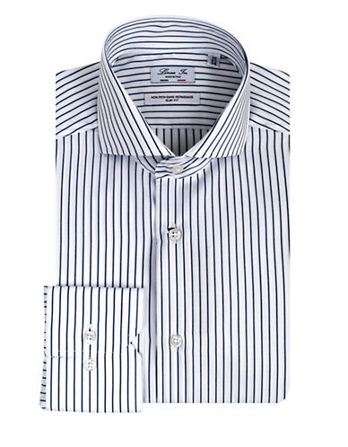 Linea In Slim-Fit Stripe Dress Shirt-BLUE-16.5-36