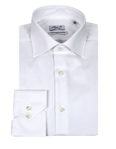 Linea In Slim Fit Solid Dress Shirt-WHITE-17.5-37