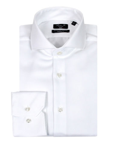 Linea In Comfort Fit Solid Dress Shirt-WHITE-16.5-36