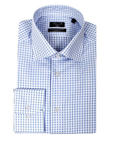 Linea In Comfort-Fit Grid Check Dress Shirt-NAVY-17-37