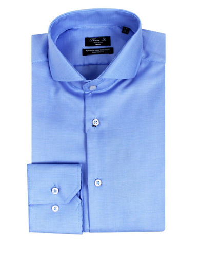 Linea In Micro Check Sport Shirt-BLUE-17.5-37