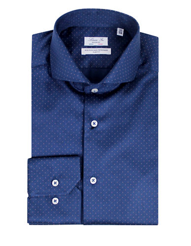 Linea In Pin Dot Sport Shirt-BLUE-14.5-32/33