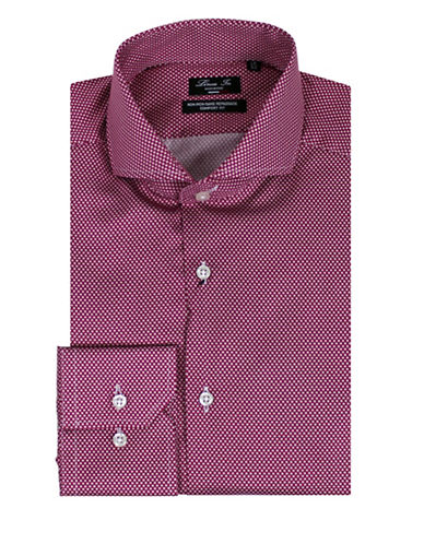 Linea In Dot Patterned Dress Shirt-RED-14.5-32/33
