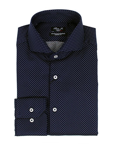 Linea In Dot-Printed Dress Shirt-NAVY-16.5-36