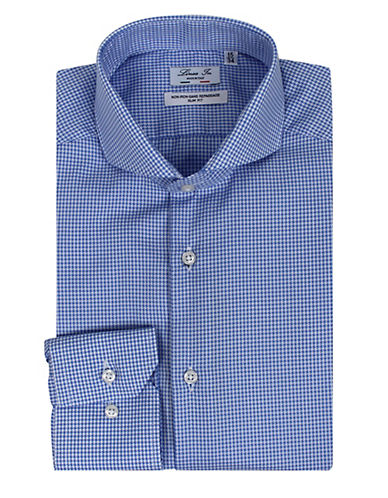 Linea In Checked Dress Shirt-LIGHT BLUE-14.5-32/33