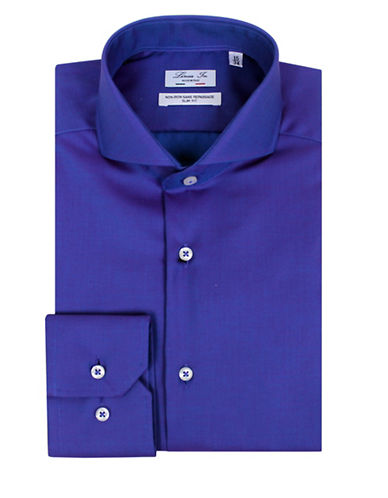Linea In Slim-Fit Long Sleeve Dress Shirt-PURPLE-17.5-37