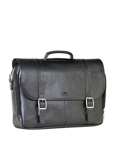 Mancini 5th Avenue Double-Compartment Leather Briefcase-BLACK-One Size