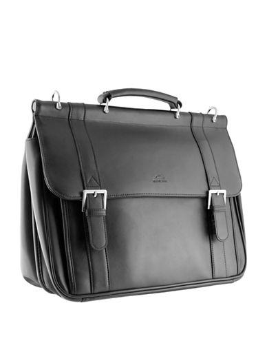 Mancini 5th Avenue Leather Briefcase-BLACK-One Size