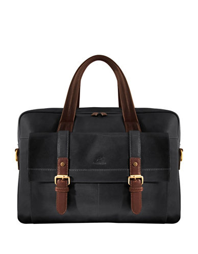 Mancini Calabria RFID-Secure Double-Compartment Leather Briefcase-BLACK-One Size