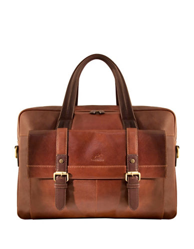 Mancini Calabria RFID-Secure Double-Compartment Leather Briefcase-BROWN-One Size