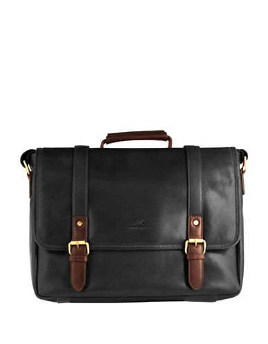 Mancini Calabria RFID-Secure Leather Messenger Bag-BLACK-One Size