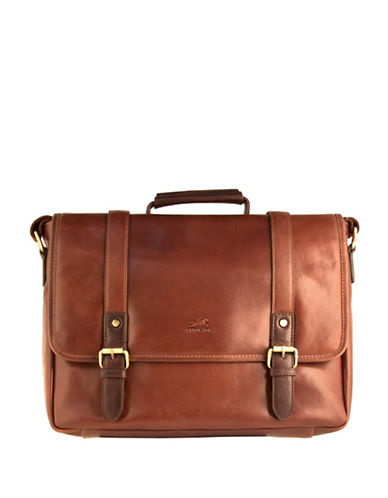 Mancini Calabria RFID-Secure Leather Messenger Bag-BROWN-One Size