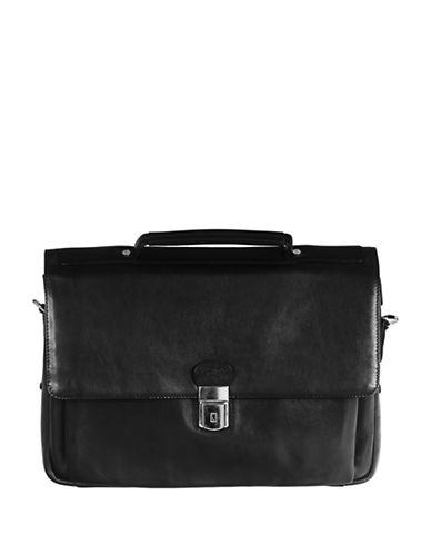 Mancini Mancini Triple Compartment Briefcase-BLACK-One Size