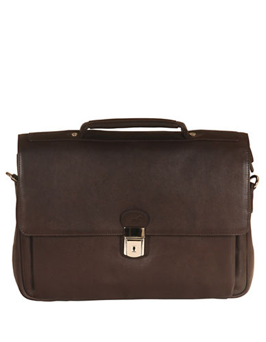 Mancini Mancini Triple Compartment Briefcase-BROWN-One Size