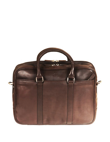 Mancini Colombian RFID-Secure Leather Briefcase-BROWN-One Size