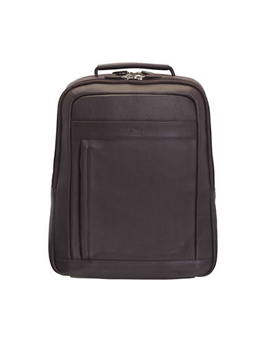Mancini Colombian RFID-Secure Leather Backpack-BROWN-One Size
