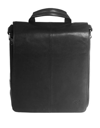 Mancini Colombian RFID-Secure Leather Crossbody Bag-BLACK-One Size