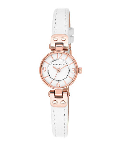 Anne Klein Rose Goldtone Watch with White Leather Strap-WHITE-One Size