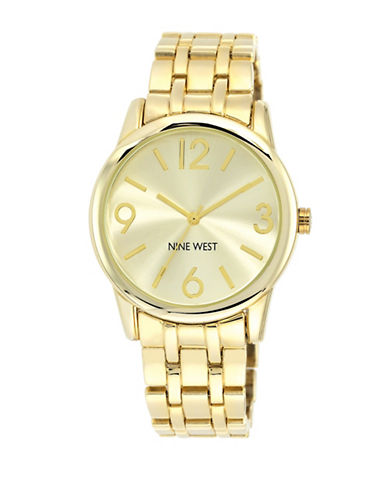 Nine West 1578CHGB Goldtone Stainless Steel Bracelet Strap Watch-GOLD-One Size