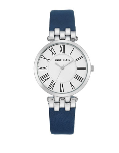 Anne Klein Silvertone Leather Strap Watch-BLUE-One Size