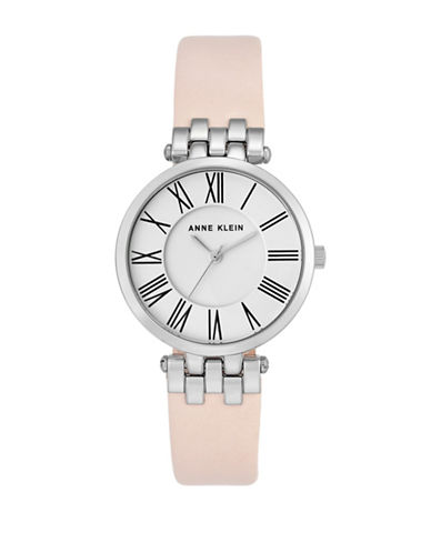 Anne Klein Silvertone Leather Strap Watch-PINK-One Size